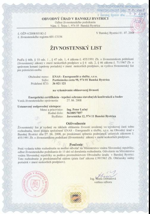 Energetická certifikácia: Tepelná ochrana stavebných konštrukcií a budov, v zmysle Zákona NR SR č. 555/2005 Z.z. o energetickej hospodárnosti budov